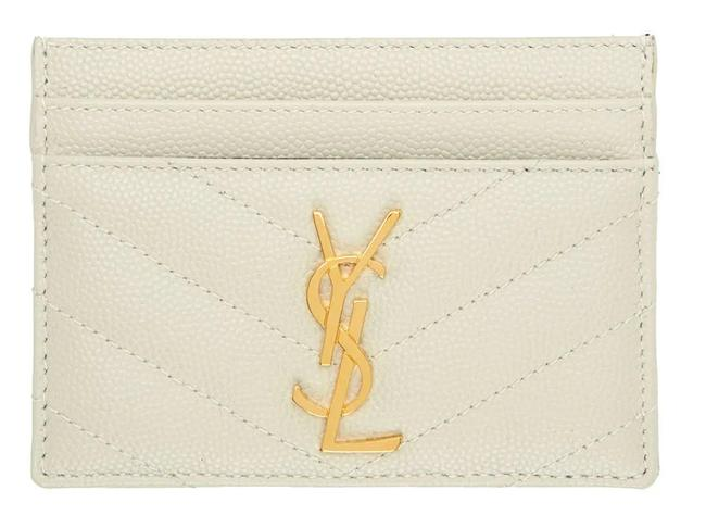Item - New Ysl Quilted Card Holder Case Wallet Off White Leather Clutch