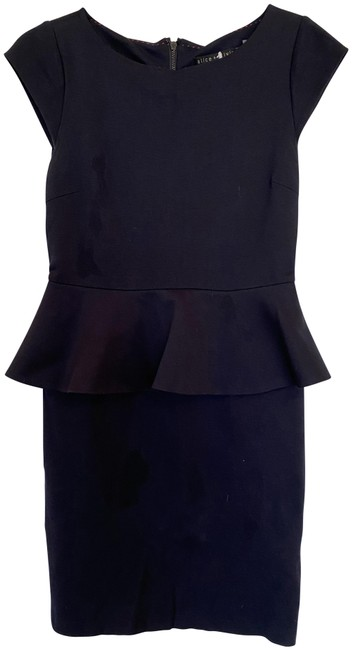 Alice + Olivia Blue Navy Peplum Short Work/Office Dress Size 6 (S) Alice + Olivia Blue Navy Peplum Short Work/Office Dress Size 6 (S) Image 1