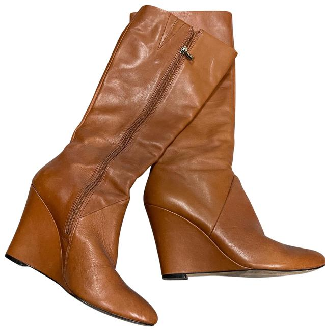 Item - Camel Mid Calf Leather Wedge Heel Boots/Booties Size US 7.5 Regular (M, B)