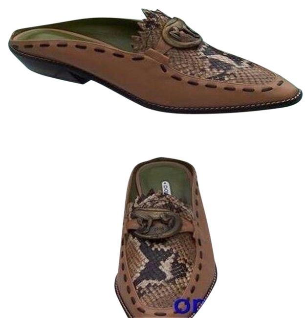 Item - Tan Brown Camel Couture Leather Pitone Loafer Signature Mules/Slides Size US 6 Regular (M, B)