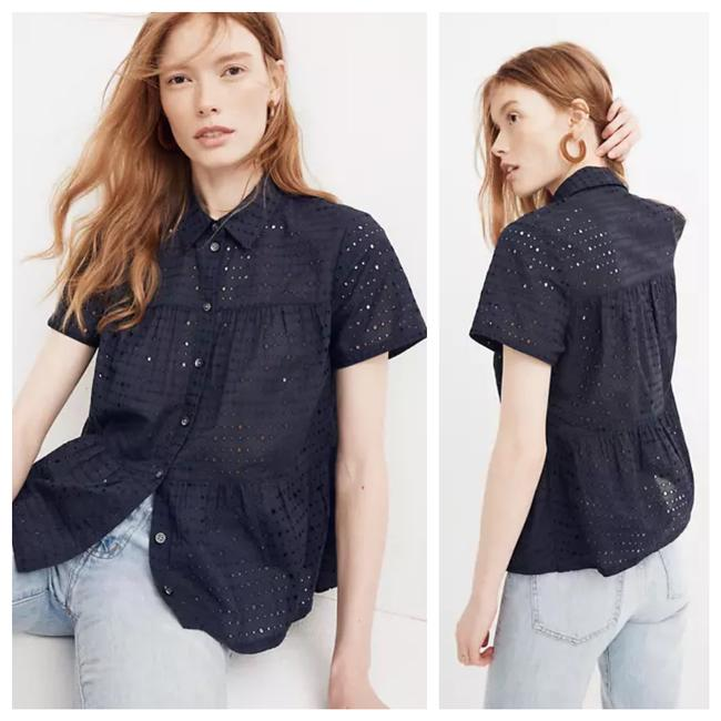 Item - Black Eyelet Button-down Top Size 2 (XS)