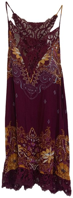 Item - Burgundy XS Floral Lace Shift Short Casual Dress Size 2 (XS)