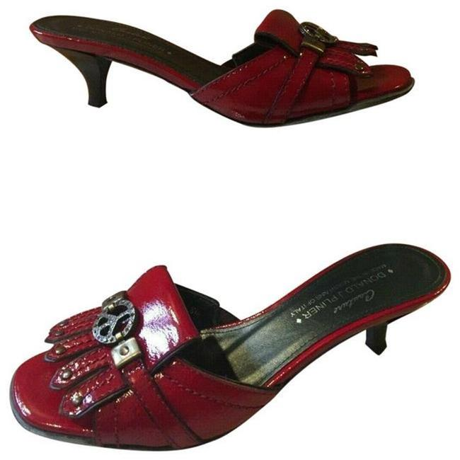 Item - Red Couture Patent Leather Slide New Peace Sign Sandals Size US 6.5 Regular (M, B)