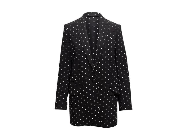 Item - Black & White Cross Printed Longline Blazer Size 8 (M)