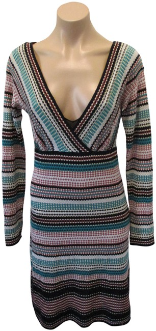"""Item - Multi-color """"V"""" Neck with Long Sleeves and Attached Slip Mid-length Night Out Dress Size 6 (S)"""