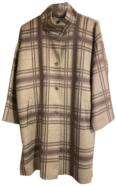 Item - Tan & Chocolate Plaid Suri Alpaca Coat Size 16 (XL, Plus 0x)