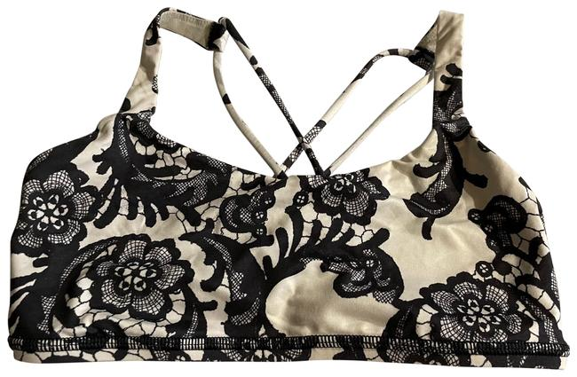Item - Black and White Lace Activewear Sports Bra Size 4 (S)