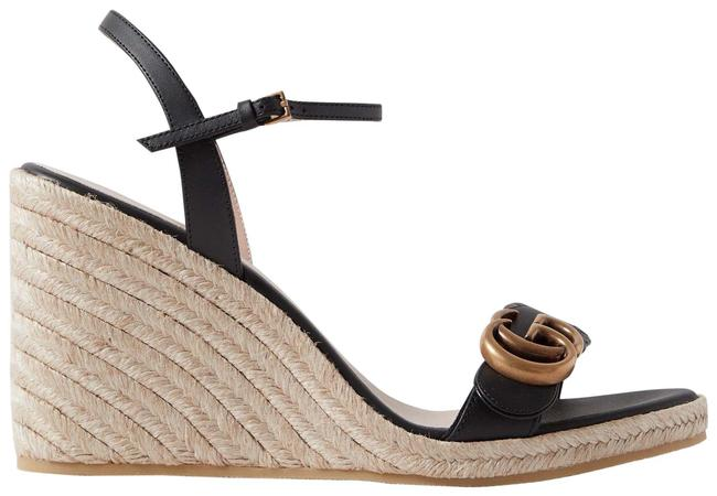 Item - Black Marmont Gg Aitana 85 Leather Espadrille Wedges Sandals Size EU 37 (Approx. US 7) Regular (M, B)