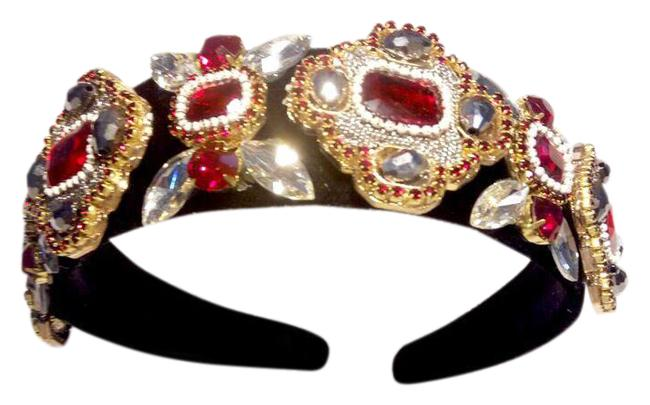 Item - Black Red Dolce Style Victorian Beaded Headband/ Tiara Hair Accessory