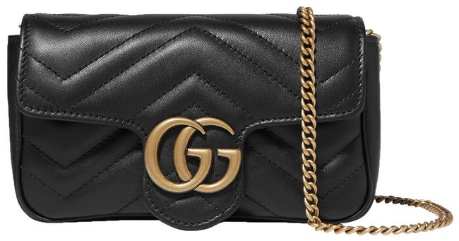 Item - Marmont Gg Super Mini Quilted Black Leather Cross Body Bag