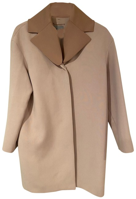 Item - Pink with Light Brown Mid-length Removable Collar Coat Size 10 (M)