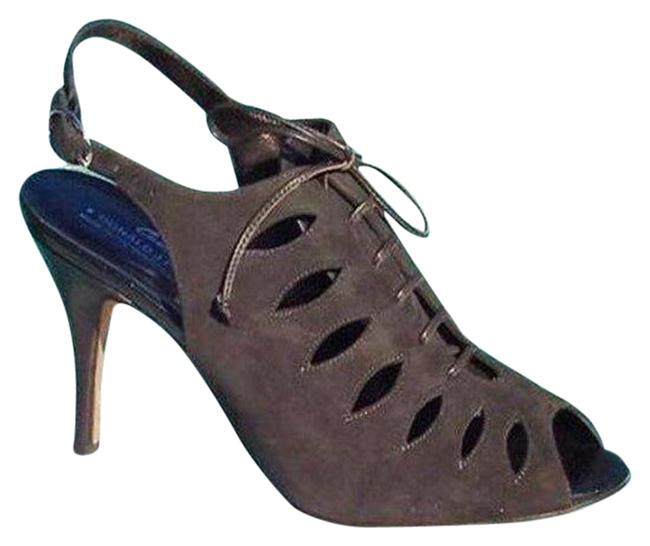 Item - Expresso -brown Black Couture Suede Leather New Lace Up Peep Toe Pumps Size US 9 Regular (M, B)