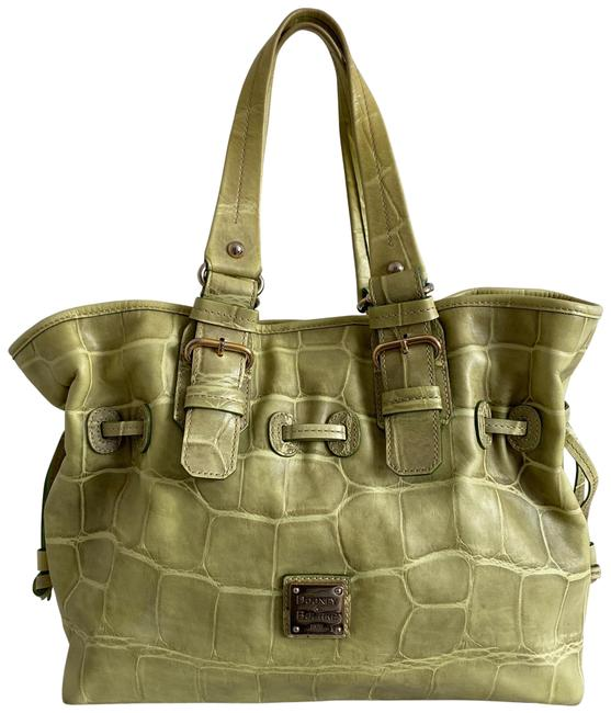 Item - 3 Compartments Croc Large Green Leather Tote