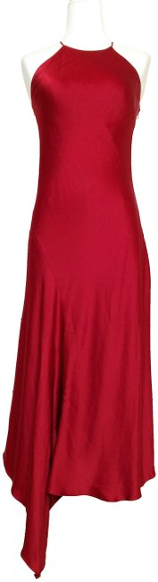 Item - Red Lucy Bias Draped Asymmetrical Metallic Twill Halter Gown Mid-length Cocktail Dress Size 4 (S)