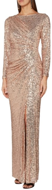 Item - Gold Sleeve Sparkle Evening Sexy Wedding Party Gown Long Formal Dress Size 14 (L)
