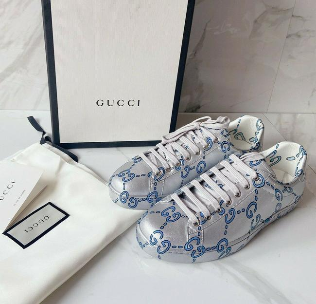 Item - Silver Blue Ace Gg Monogram Logo Sneaker Coated Athletic Size US 10 Regular (M, B)