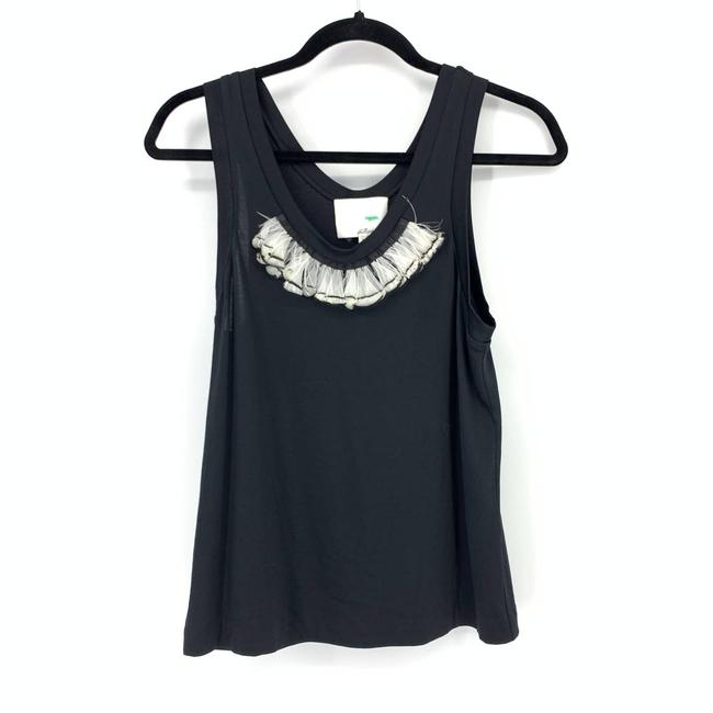Item - Black Small Feather Embellished Tank Top/Cami Size 4 (S)