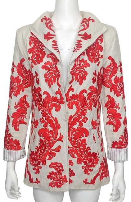 Item - Natural and Red Embroidered Roll Sleeve Wing Collar Jacket Size 6 (S)