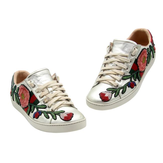 Item - Metallic Silver Ace Floral Embroidered Low-top Calfskin Leather Sneakers Size EU 39 (Approx. US 9) Regular (M, B)