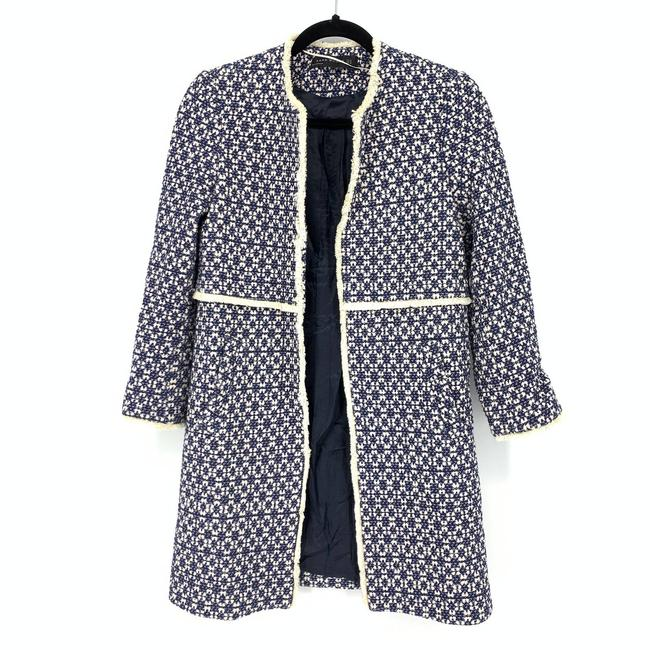 Item - Blue XS Womens Frayed Printed #thatcoat White Open Front Coat Size 0 (XS)