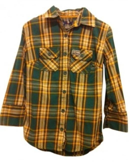Super Dry Button Down Shirt Green/Yellow/Teal