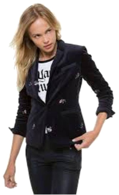 Item - Black L Womens Regal Floral Embroidered Velour Blazer Activewear Outerwear Size 12 (L)