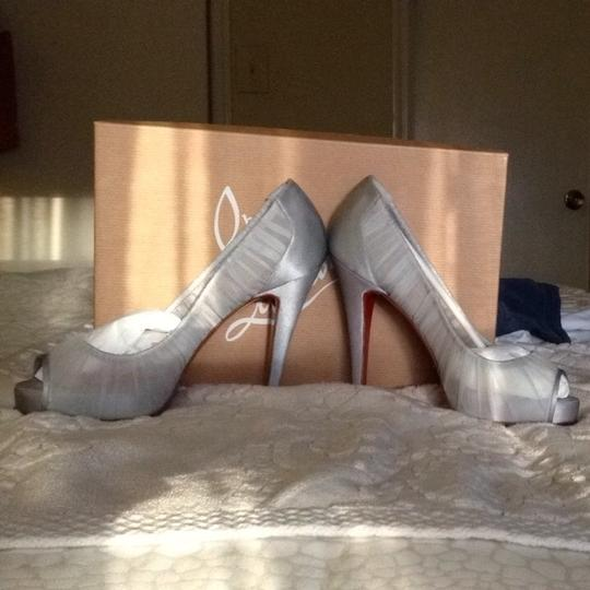 Christian Louboutin Stiletto Wedding Party Chiffon Silver Formal