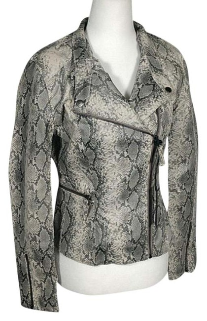 Item - Gray White Snakeskin Print Faux Leather Jacket Size 2 (XS)
