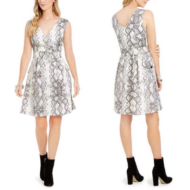 Item - Gray White Snake Print Belted Mid-length Work/Office Dress Size 8 (M)