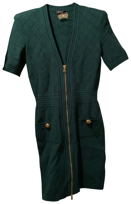 Balmain Green Short Casual Dress Size 4 (S) Balmain Green Short Casual Dress Size 4 (S) Image 1