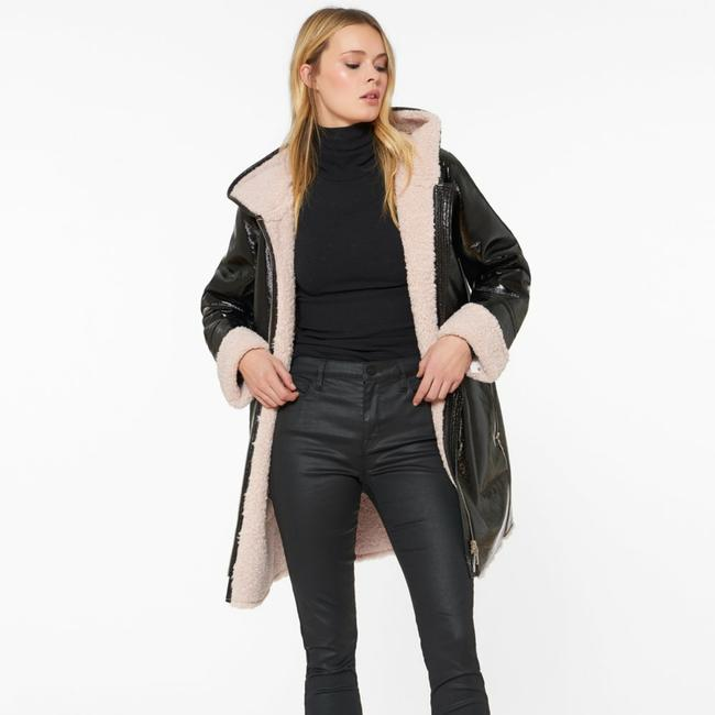 Item - Black Faux Shearling Patent Leather Coat Size 2 (XS)