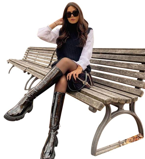 Item - Black Over Knee Stretchy High Shaft Patent Finish 3002/610 Boots/Booties Size US 9 Regular (M, B)