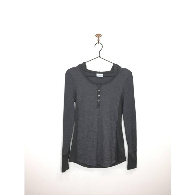 Item - Gray Waffle Knit Quarter Button Hooded Shirt S Activewear Top Size 4 (S)
