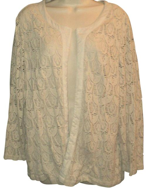 Item - Cream Lace Lined Bodice Open Front Washable Blazer Size 18 (XL, Plus 0x)