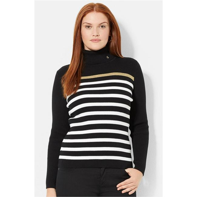 Item - Striped Cotton Logo Ribbed Turtleneck Black White Gold Sweater