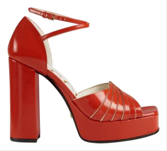 Item - Red 601580 Gold Piping Leather Platform Sandals Size EU 38.5 (Approx. US 8.5) Regular (M, B)