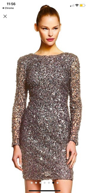 Item - Grey Sequin Mid-length Cocktail Dress Size 4 (S)