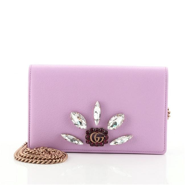 Item - Chain Wallet Marmont Gg Embellished Mini Purple Leather Cross Body Bag