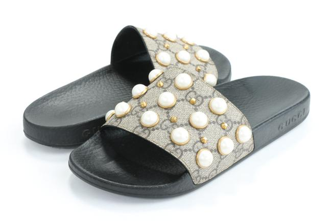 Item - Beige Gg Supreme Monogram Slide Pearls Sandals Size EU 35 (Approx. US 5) Regular (M, B)