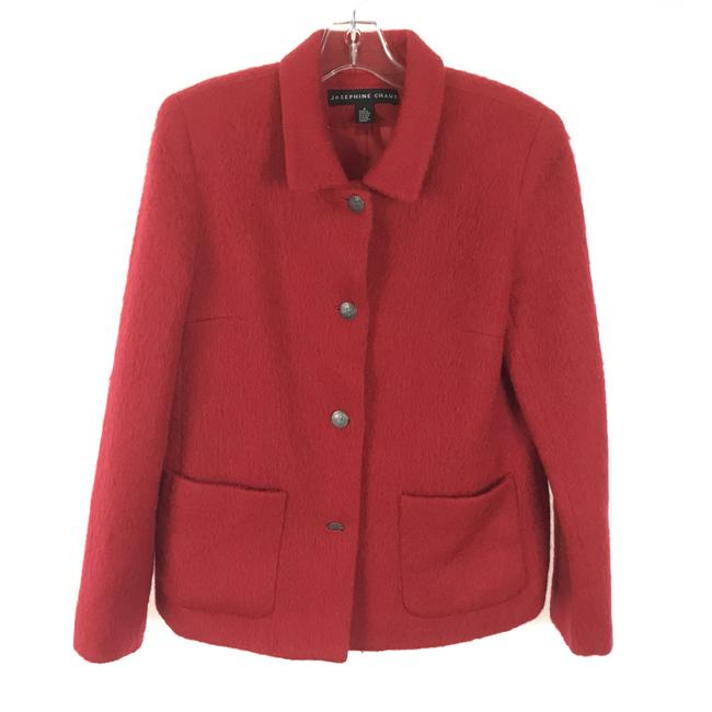 Item - Red Fuzzy Wool Blend Jacket Size 6 (S)