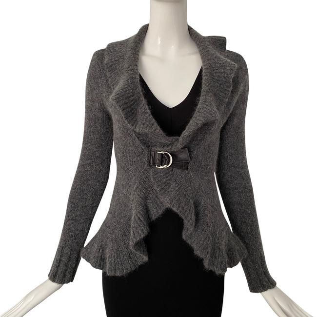 Item - Gray Ruffle Fitted Cardigan Size 2 (XS)