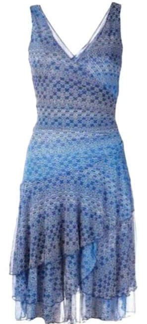 Item - Blue Faux Wrap Mid-length Short Casual Dress Size 4 (S)
