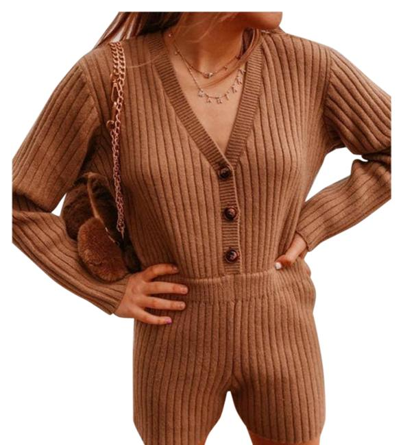 Item - Brown Short Knit 9667/002 Large New Taupe Ribbed Knit Romper/Jumpsuit