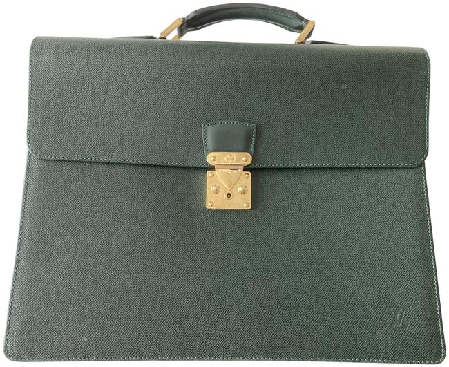Item - Briefcase Green Leather Laptop Bag