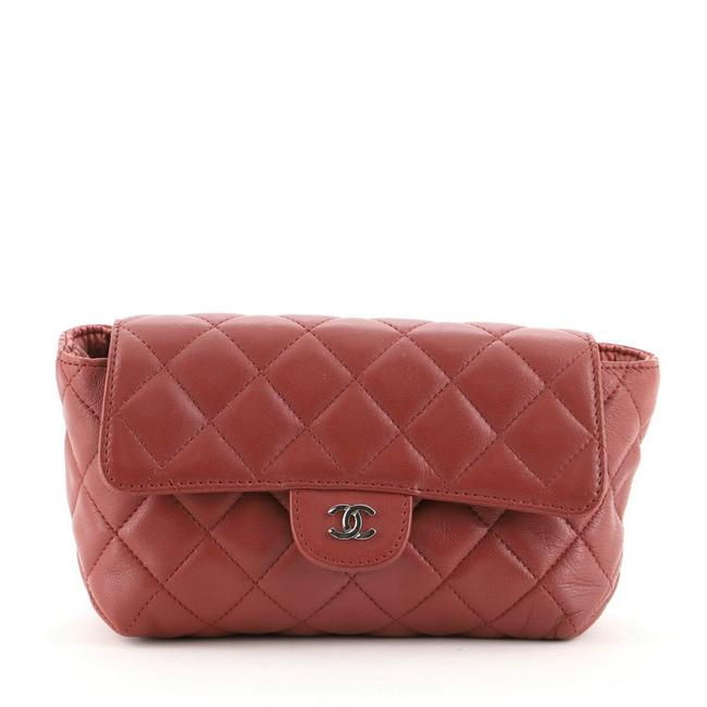 Item - Red Flap Quilted Lambskin Small Cosmetic Bag