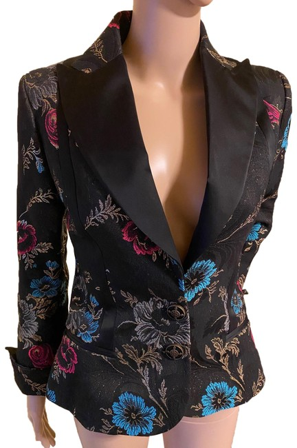 Item - Floral Print Embroidered Evening Blazer Black and Multi Colored Top