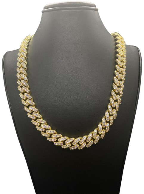 Item - Gold 14k Finish Iced Out Cuban Chain Necklace