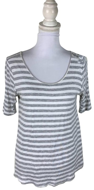 Item - Gray Puella White Striped Womens Medium Blouse Size 8 (M)