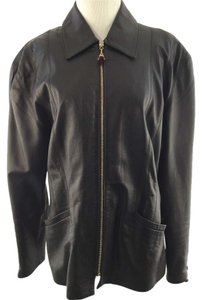 St. John Vintage Leather Dark Brown Leather Jacket