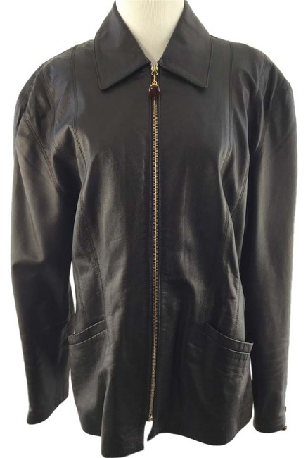 St. John Vintage Dark Brown Leather Jacket